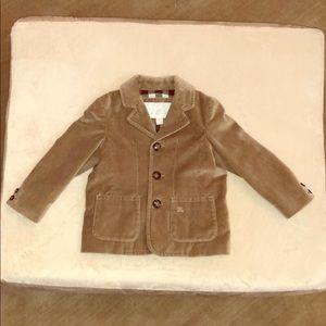 BURBERRY Baby Boy Brown Velvet Blazer 18 M NWOT